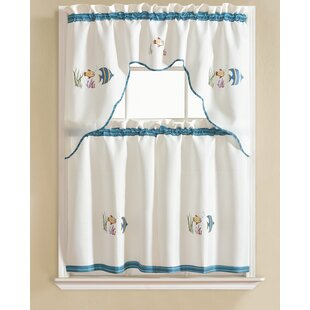 Garland Fish Embroidered Kitchen Curtain