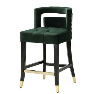 Lunde Velvet Upholstered Nailhead Trim 26 Bar Stool Best Choices