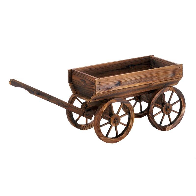 Millwood Pines Testerman Wine Wagon Wood Wheelbarrow Planter Reviews Wayfair