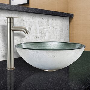 Simply Silver Glass Circular Vessel Bathroom Sink With Faucet