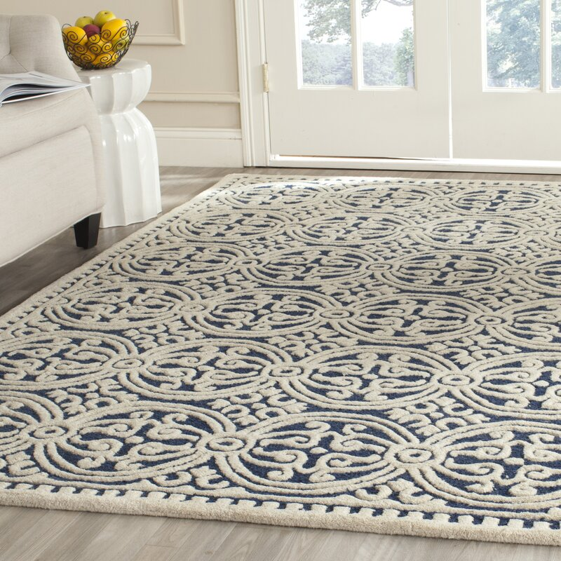 House Of Hampton Fairburn Hand Tufted Wool Navy Ivory Area