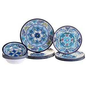 talavera heavy weight melamine 12 piece dinnerware set service for 4 - Dishware Sets