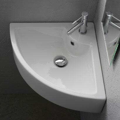 """scarabeonameeks 18.5"""" corner bathroom sink with overflow"""