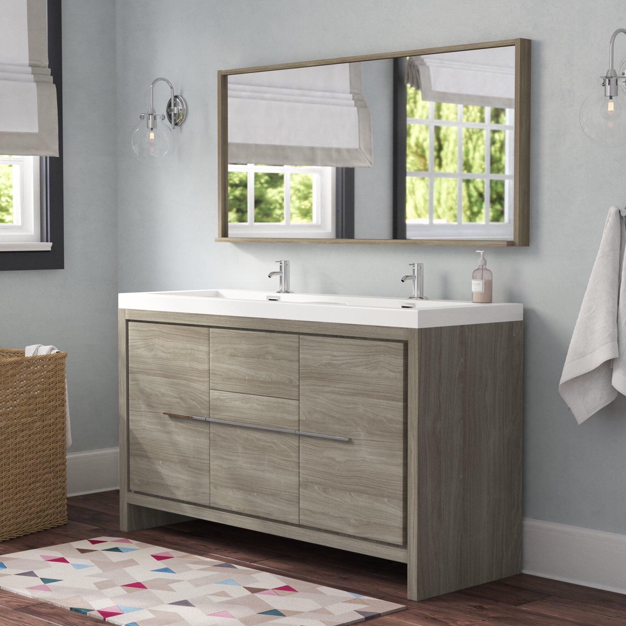 . Waldwick 57  Double Modern Bathroom Vanity Set with Mirror