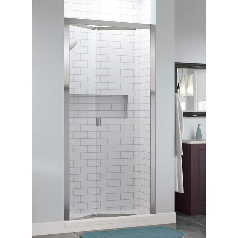 "Basco Infinity Bifold 31"" x 67"" Folding Semi-Frameless Shower Door  Finish: Chrome, Glass Type: AquaGlideXP Clear"