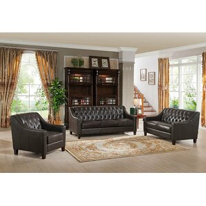 Charley Leather 3 Piece Living Room Set by C..