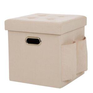 Ebern Designs Suki Foldable Faux Suede Cube Storage Ottoman