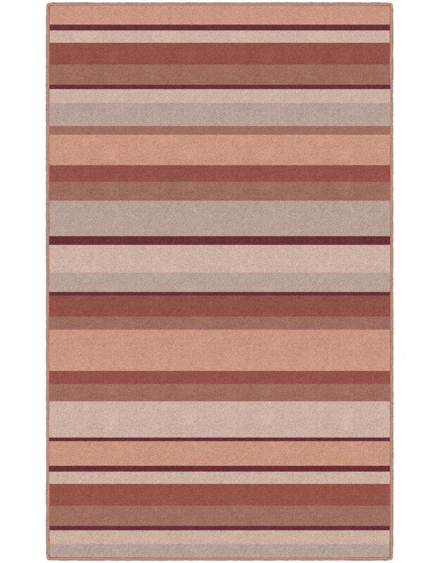 Winston Porter Aarav Striped Red Area Rug, Size: Rectangle 76 x 10