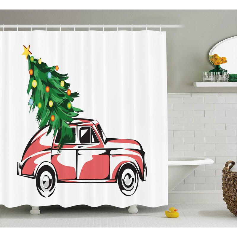 Christmas Retro Classic Car Shower Curtain