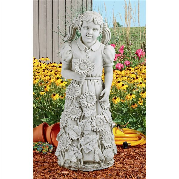 Design Toscano Savannahu0027s Sunflowers Little Girl Garden Statue | Wayfair