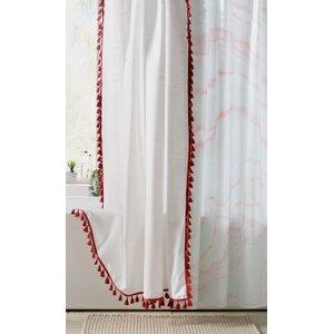 Everado 100% Cotton Tassel Shower Curtain