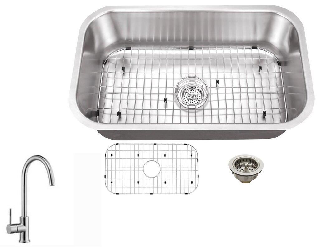 16 gauge stainless steel 30   x 18   undermount kitchen sink with gooseneck faucet soleil 16 gauge stainless steel 30   x 18   undermount kitchen sink      rh   wayfair com