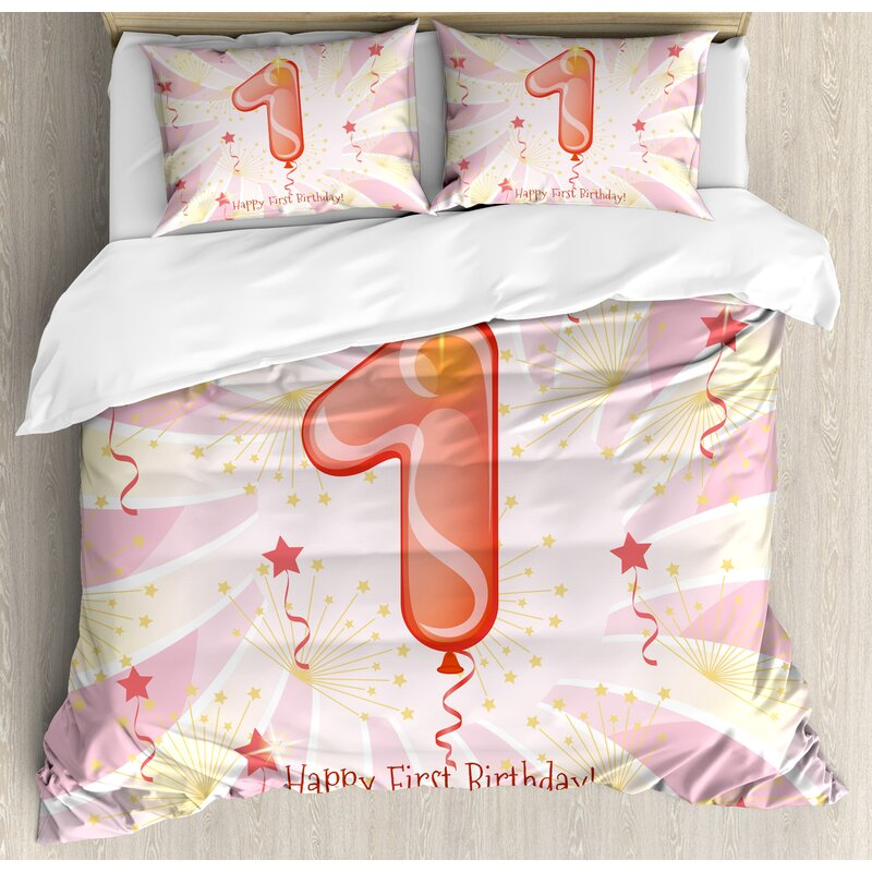 1st Birthday Decorations New Born Baby Festive Celebration Party Theme Image Duvet Cover Set
