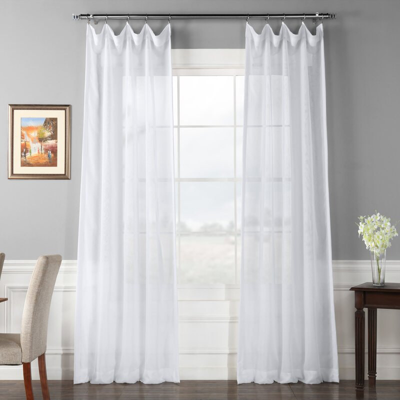 c85731af83ff3 Tiya Double Layered Solid Sheer Single Curtain Panel   Reviews