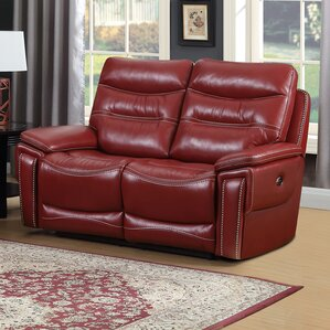 Adair Leather Reclining Loveseat by Red Barrel Studio
