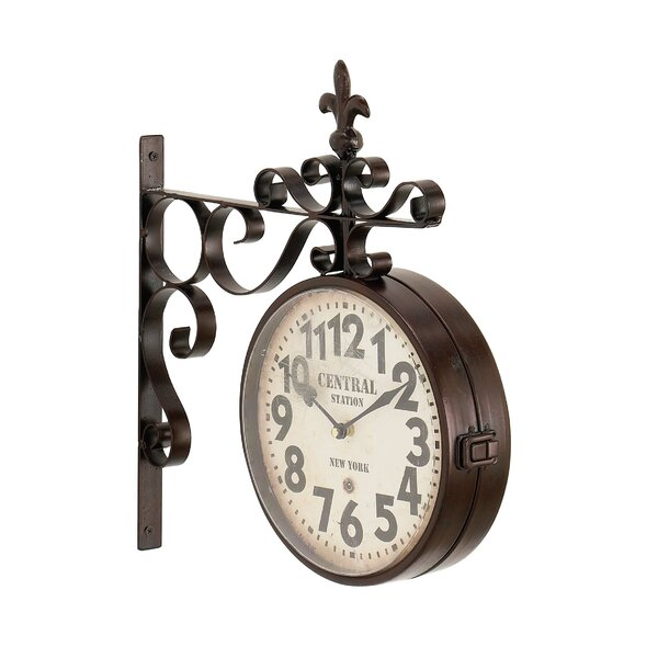 Fleur De Lis Living Candour Rustic Iron Central Station Vintage Double Sided Wall Clock Reviews Wayfair Ca