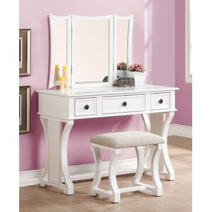 2 Piece Edna Vanity  Stool Set Bedroom Makeup Vanities Joss Main