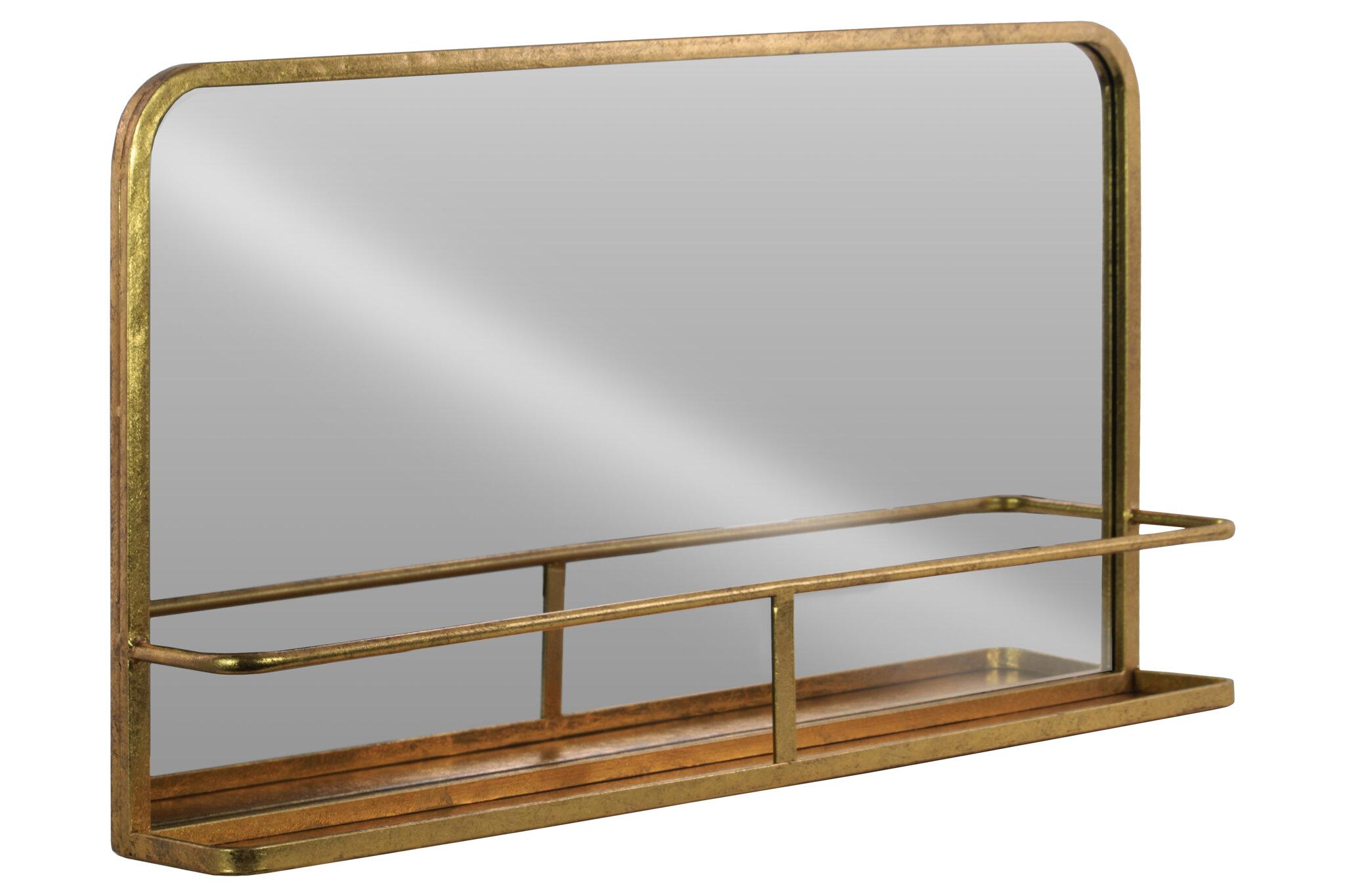 Gracie oaks dalston rectangle metal wall mirror with shelf wayfair