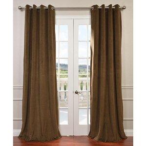 Pat Solid Grommet Blackout Velvet Thermal Single Curtain Panel