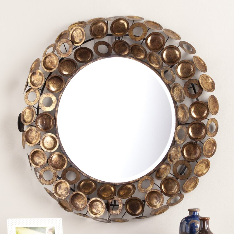 Round Galvanized Burnished Gold And Copper Decorative Wall Mirror