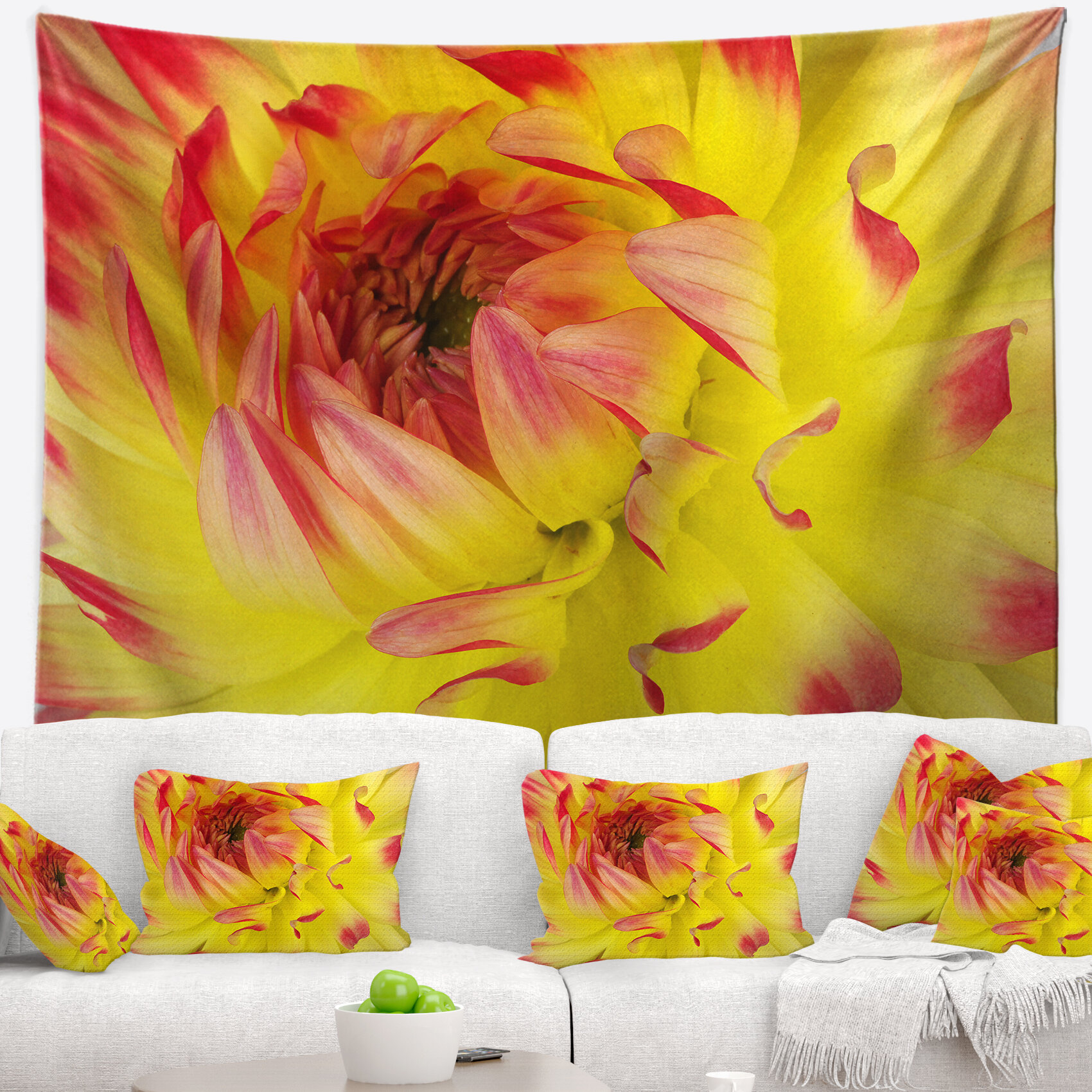 East Urban Home Floral Smooth Yellow Red Flower Petals Tapestry and ...