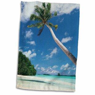 Steps On Stones Palau Palm Trees Along Tropical Beach Hand Towel