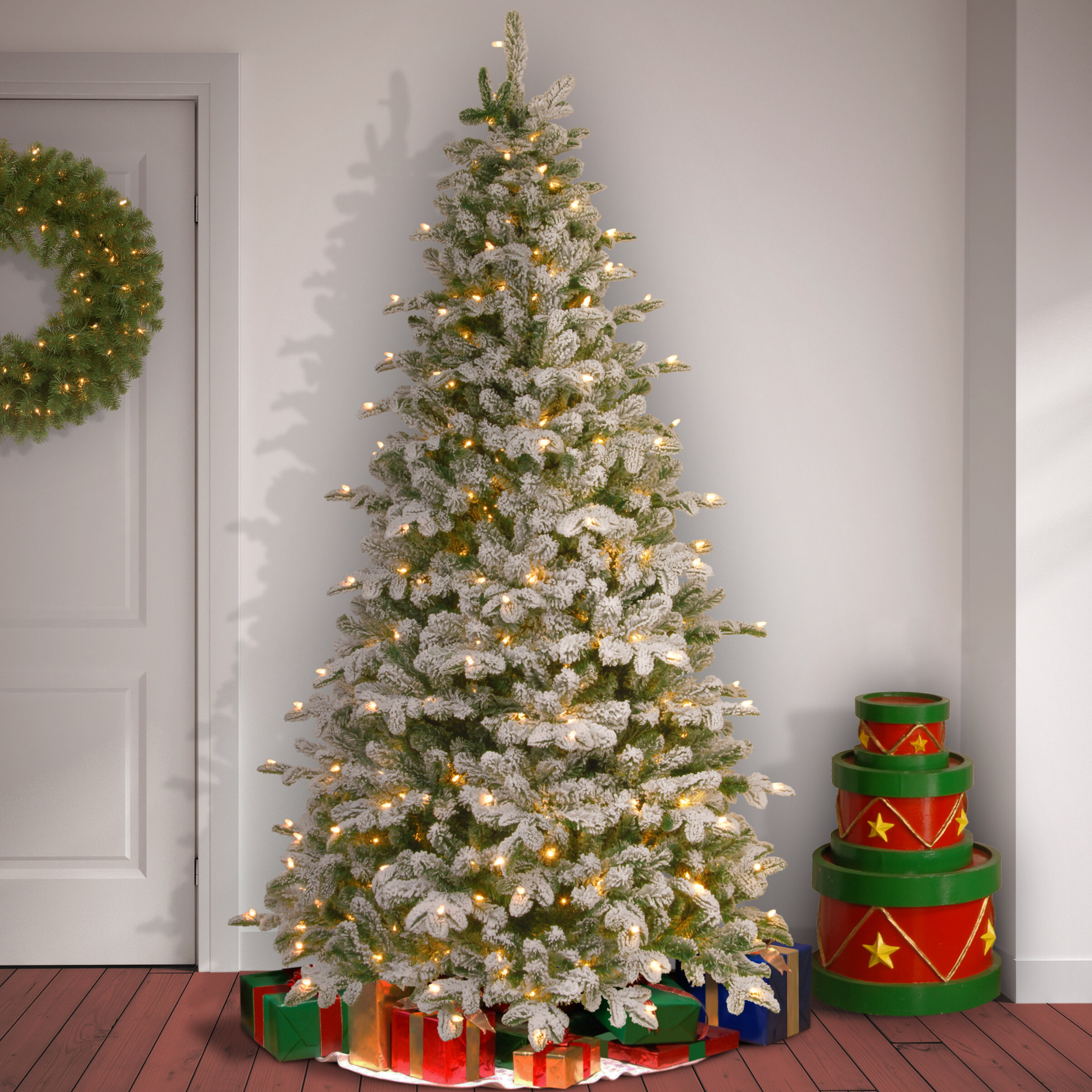 snowy frosted greenwhite fir artificial christmas tree with 450 clearwhite lights reviews birch lane