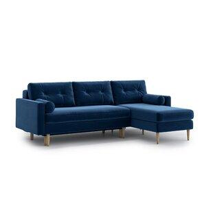 Navy Blue Velvet Corner Sofa | Wayfair.co.uk
