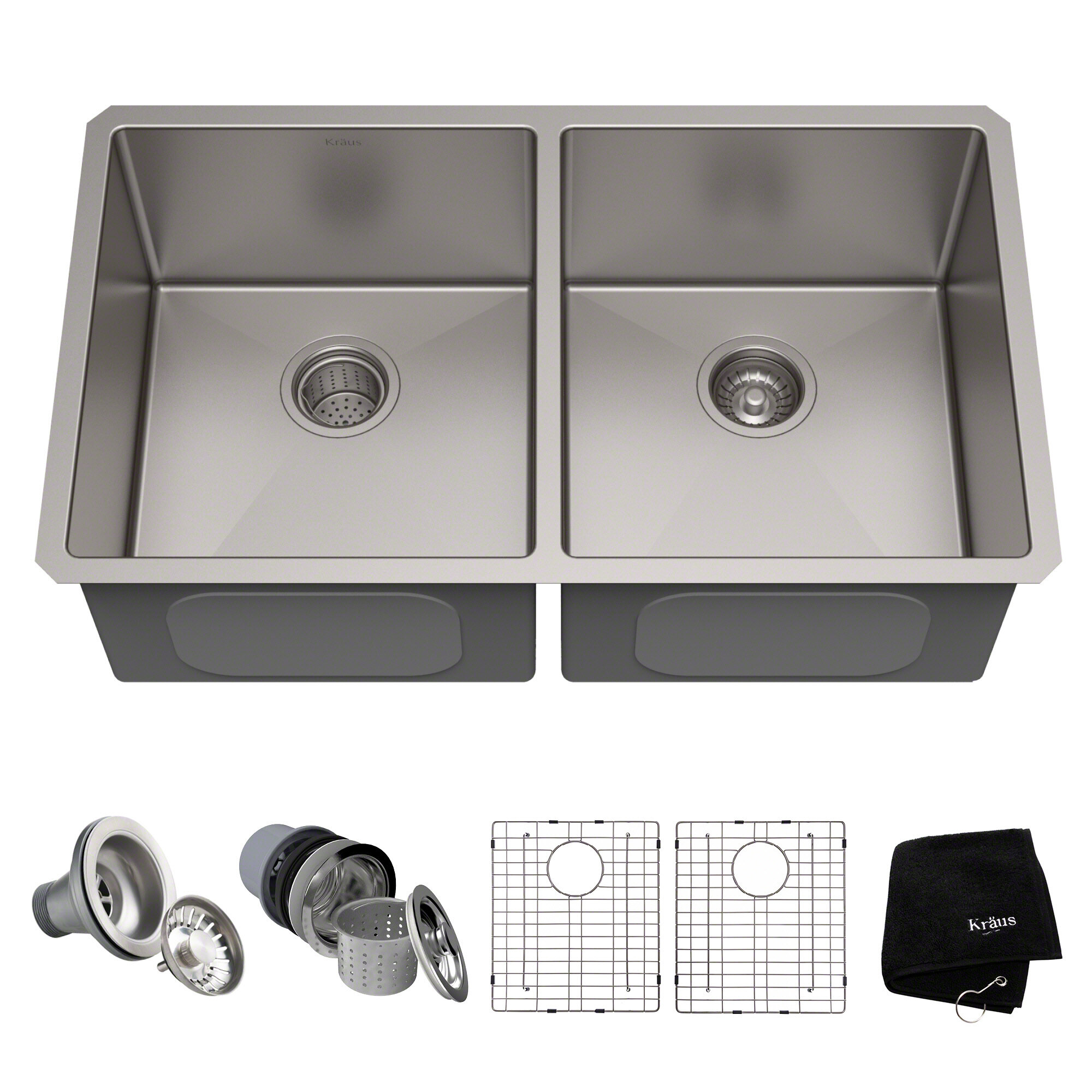 33  L x 19  W Double Basin Undermount Kitchen Sink with Drain Assembly u0026 Reviews | AllModern  sc 1 st  AllModern & 33