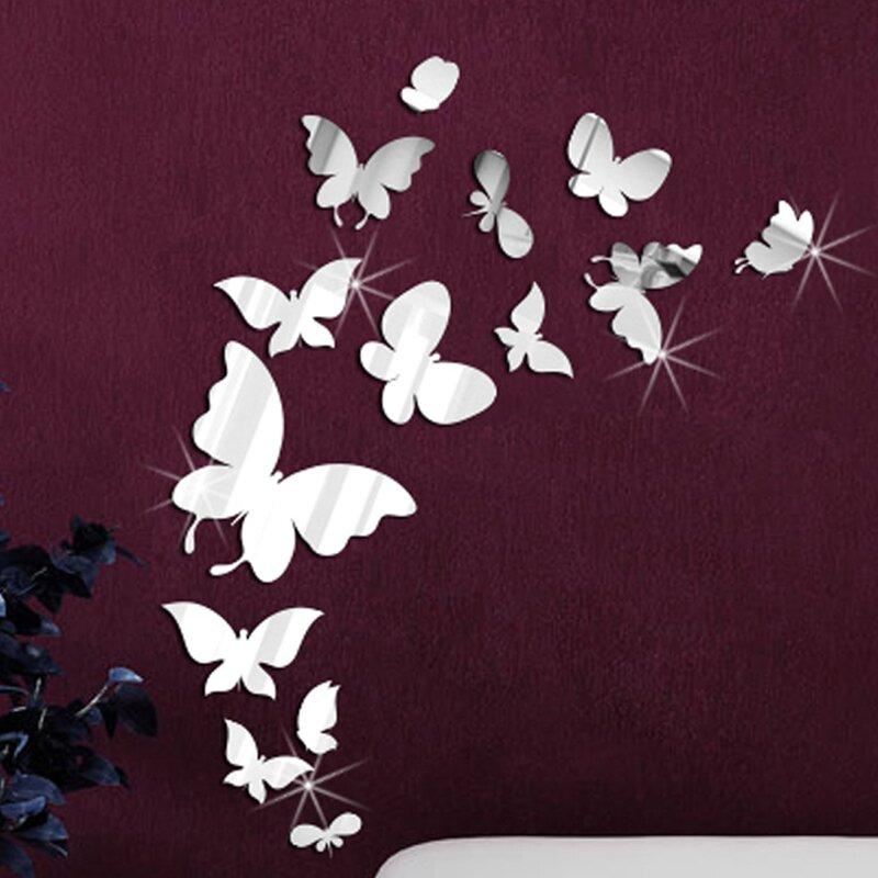 14 mirror butterflies wall art wall decal