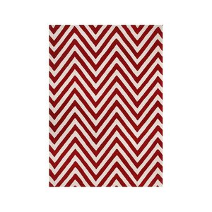 Shedd Hand-Tufted Red/White Area Rug