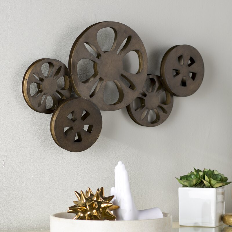 Decorative Bronze Metal Movie Reel Sculpture Wall Decor