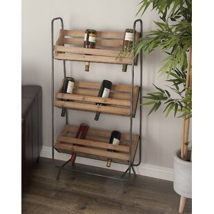 Criner Wood/Metal 18 Bottle Floor Wine Rack
