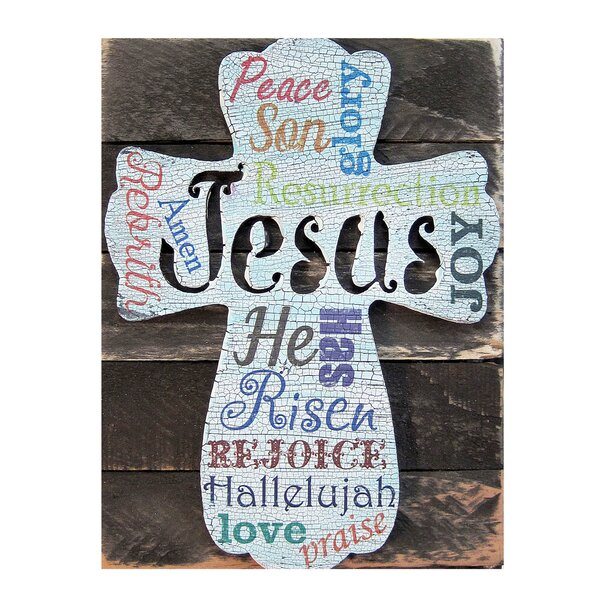 The Holiday Aisle Easter Cross Monogram On Rustic Reclaimed Wood Block Wall Decor Reviews
