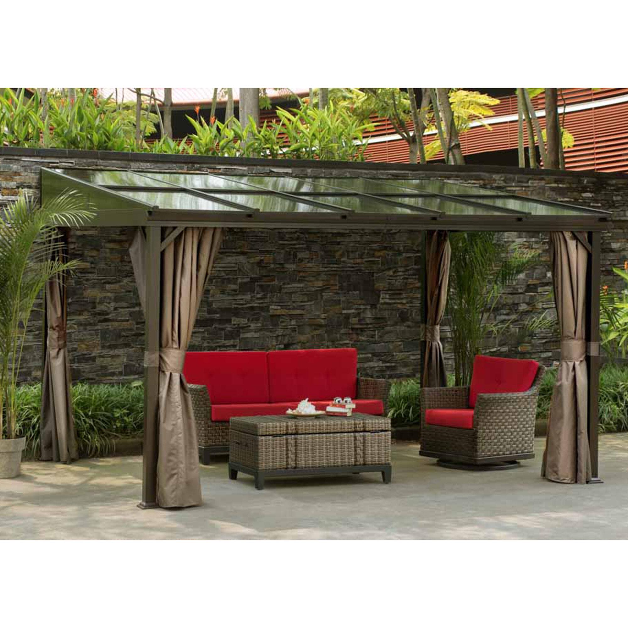 Sunjoy 12 ft w x 10 ft d aluminum wall mounted patio gazebo wayfair