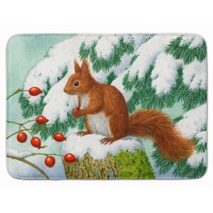 Winter Squirrel Memory Foam Bath Rug