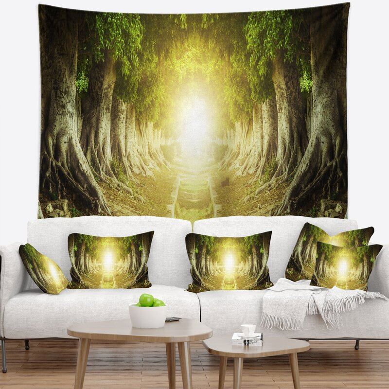 East Urban Home Landscape Green Tree Tunnel Tapestry and Wall ...