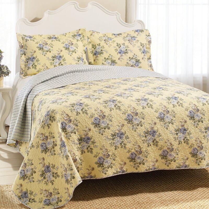 Laura Ashley Home Linley 100 Cotton Reversible Quilt Set