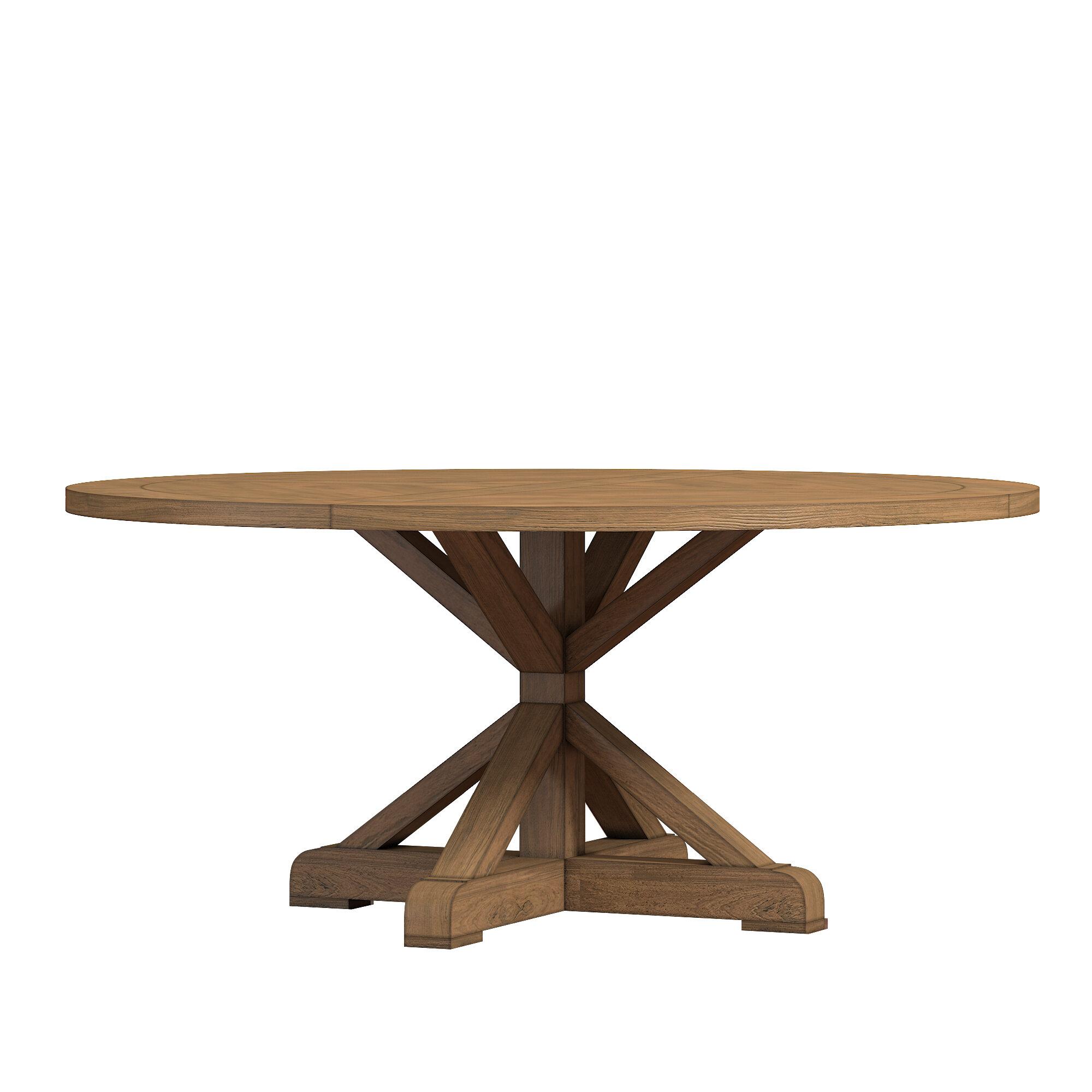 Lark Manor Peralta Round Rustic Solid Wood Dining Table Reviews Wayfair