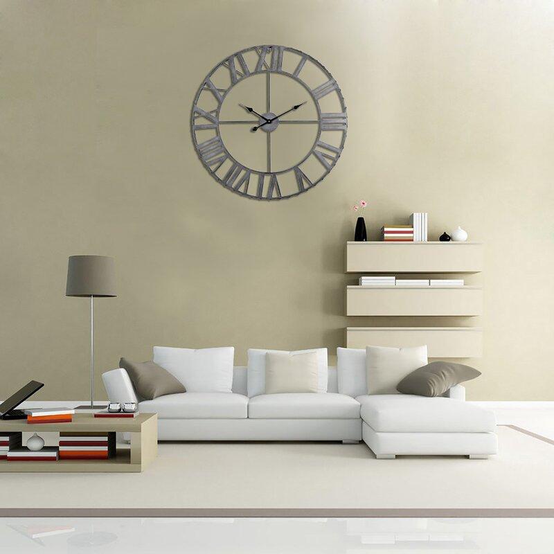 Utopiaalley Rustic Living Oversized 32 Roman Rivet Edge Wall Clock
