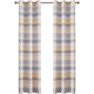 Verna Geometric Sheer Grommet Single Curtain Panel