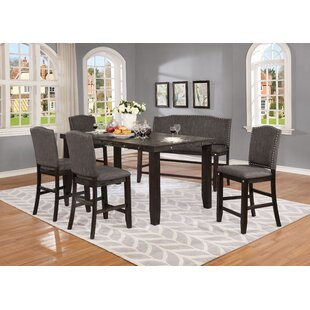 Dykstra 6 Piece Counter Height Solid Wood Dining Set