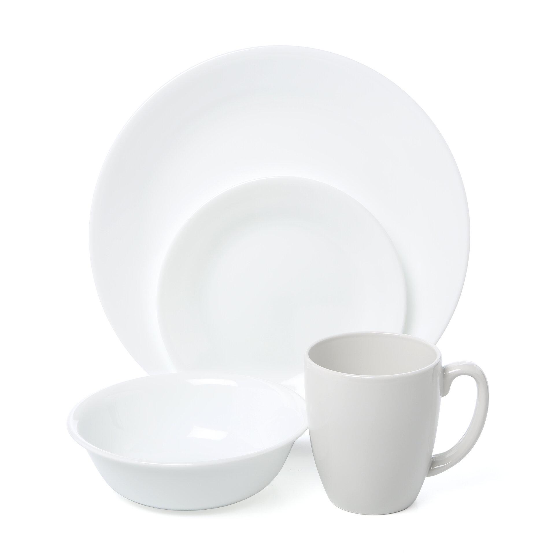 Corelle Livingware Winter Frost 16 Piece Dinnerware Set, Service for ...