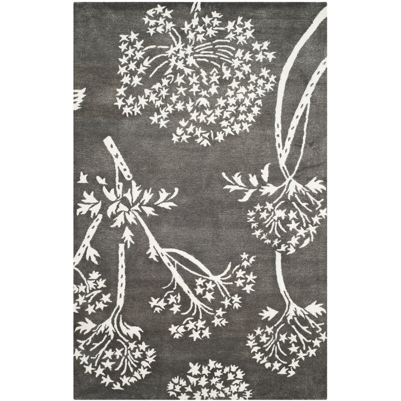 August Grove Mandy Hand-Tufted Grey/Ivory Area Rug, Size: Rectangle 6 x 9