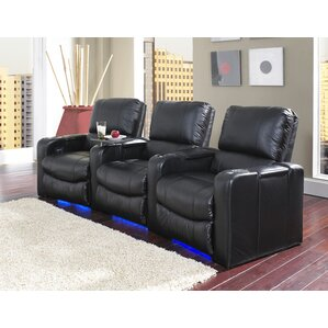 Lighted Home Theater Recliner (Row of 3) by Latitude Run
