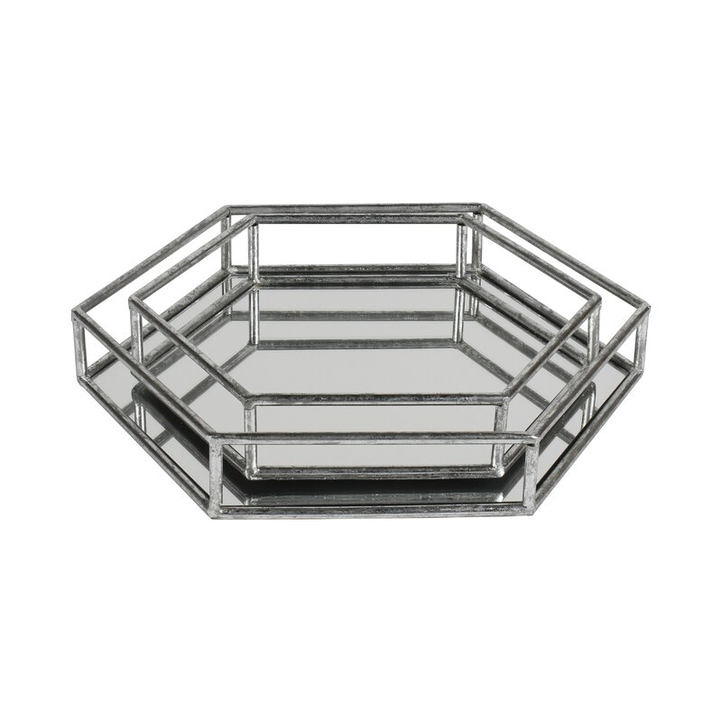 Bhavya Metal 2 Piece Mirrored Decorative Vanity Tray Set