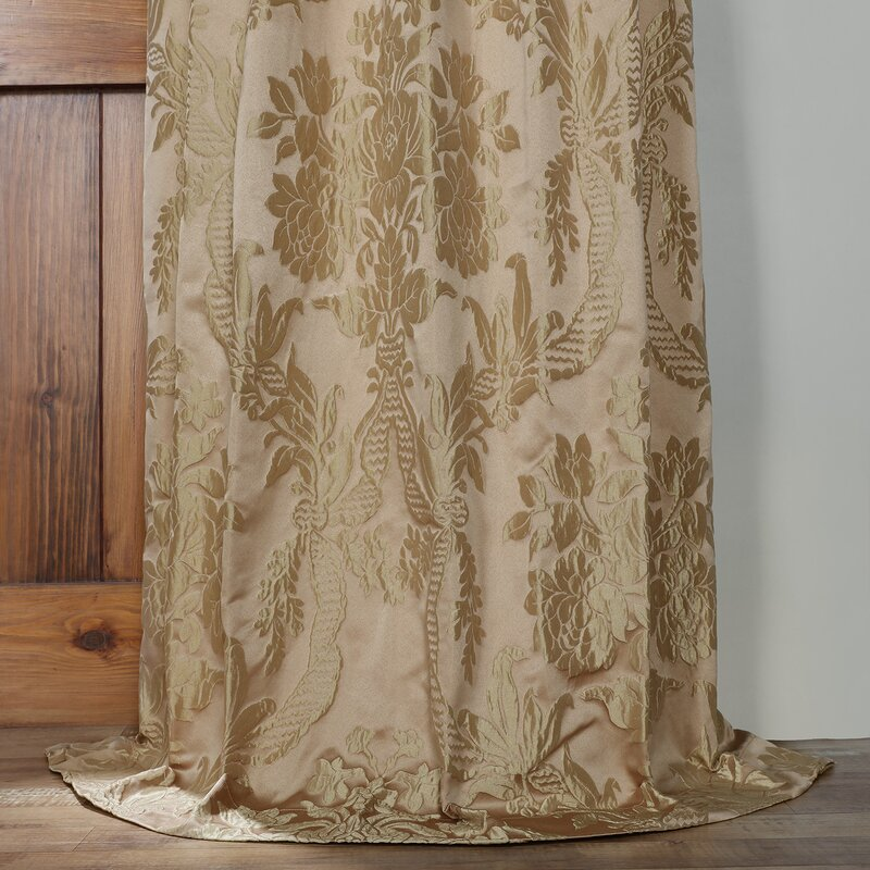 Ballsallagh Damask Room Darkening Rod Pocket Single Curtain Panel ...