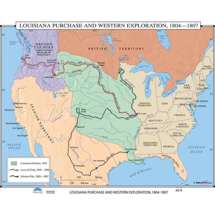 U.S. History Wall Maps - Louisiana Purchase / Western Exploration