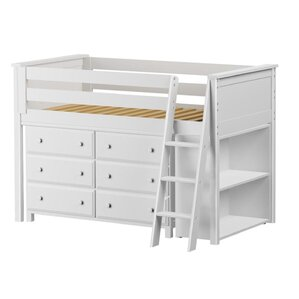 Twin Loft Bed with Dresser and Bookcas..