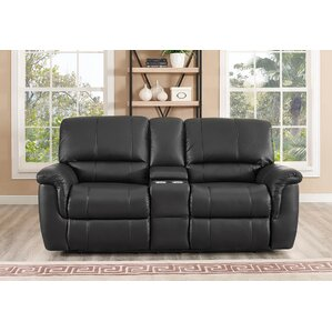 Averill Leather Reclining Loveseat by Darby Home Co